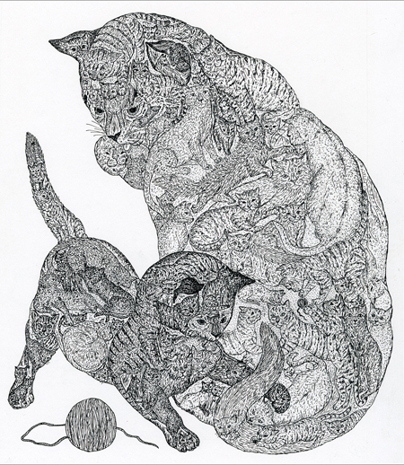 """Cat's Tale"", ink drawing by Chaz Letzkus"