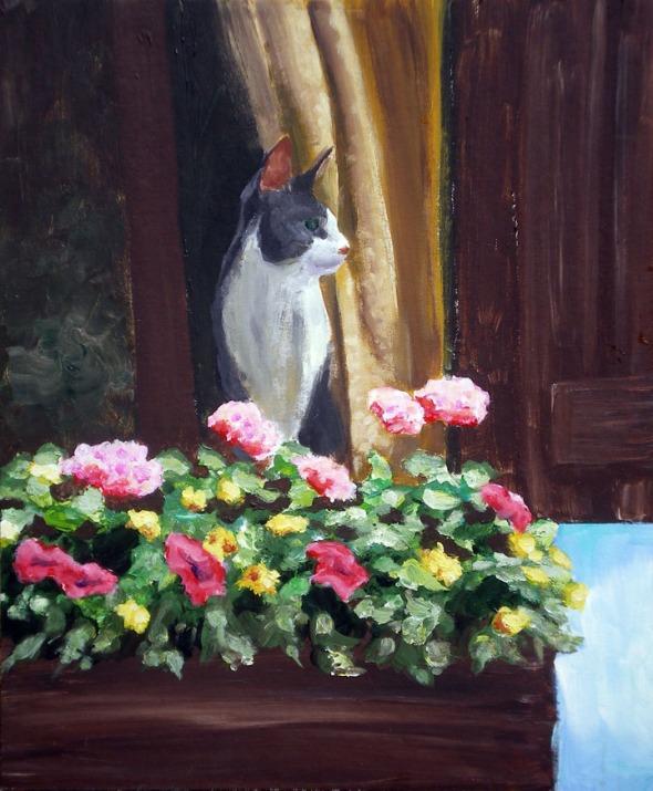 paitning of cat at window
