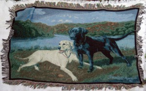woven cotton blanket with black and yellow labs