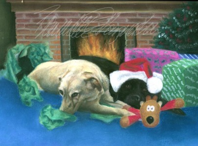 black and yellow labs open their Christmas gifts