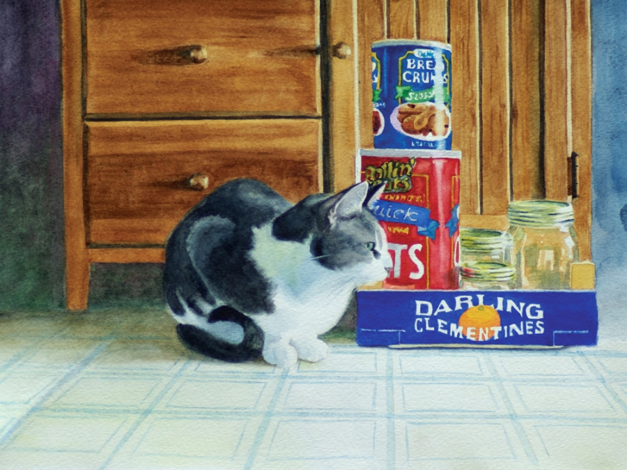 watercolor of a cat in kitchen