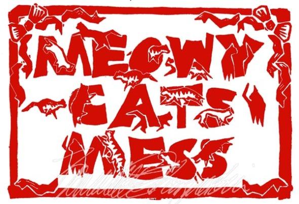 meowy cats mess linoleum block print