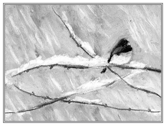 charcoal painting of junco on snowy branch