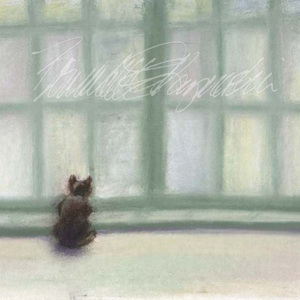 pastel painting of a cat looking out a window