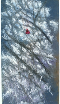 pastel painting of cardinal in snowy branches