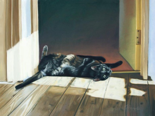 pastel painting of black cat rolling on floor