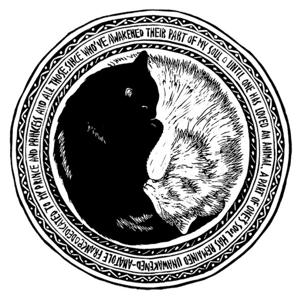 image of block print of black cat and white cat