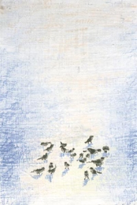 pastel painting of birds in snow