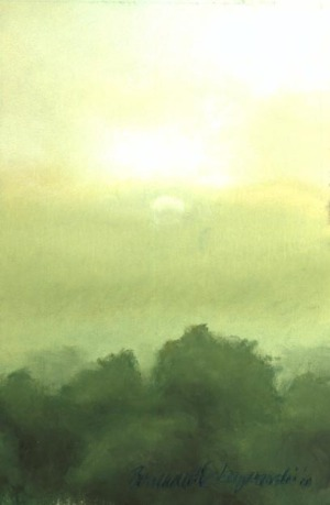 pastel painting of misty dawn