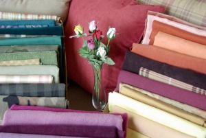 photo of fabrics and roses