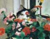 detail of pastel painting of cat with flowers