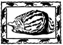 block print of a curled tabby cat