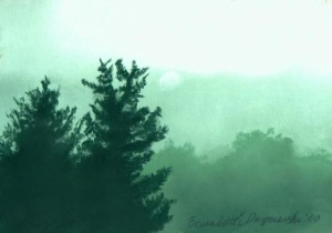 pastel painting of foggy morning with spruces