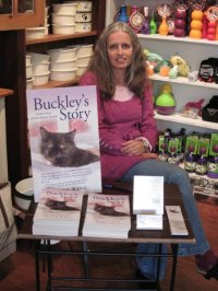 "photo of author Ingrid King with her book ""Buckley's Story"""