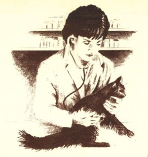 pencil sketch of veterinarian examining a cat