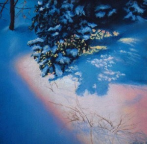 pastel painting of snowy morning