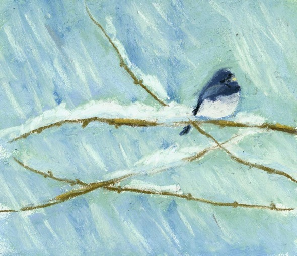 painting of junco on snowy branch
