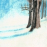 pastel painting of tree trunks and shadows