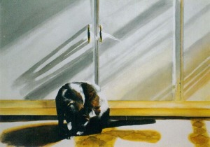 watercolor of a cat bathing in front of cabinet