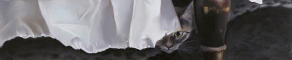 detail of pastel painting of cat under bed