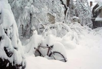 photo of bicycle buried in snow