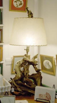 photo of lamp made of driftwood