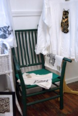photo of green stick chair
