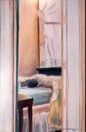 pastel painting of a cat on a bed