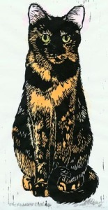 linoleum block print of tortoiseshell cat