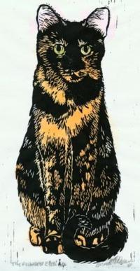 linoleum block print of tortoiseshell cat