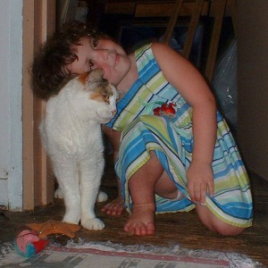 cat with little girl