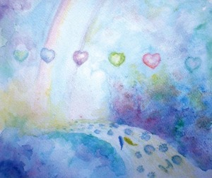 watercolor painting of rainbow and hearts