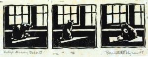 block print of cat bathing in front of window