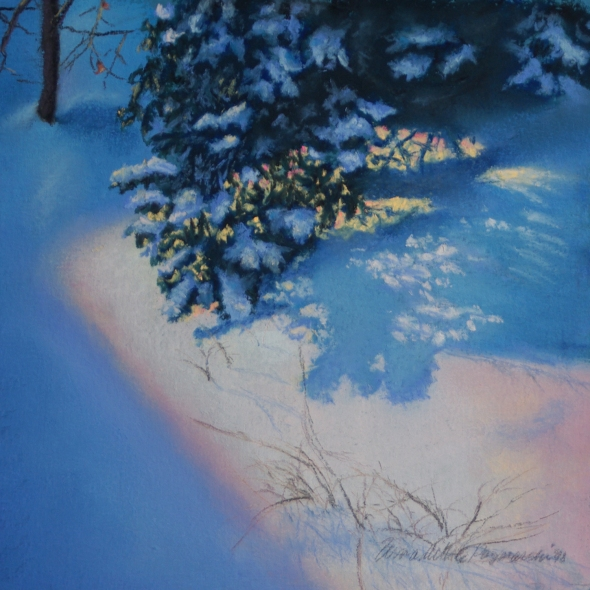 pastel painting of snow in morning