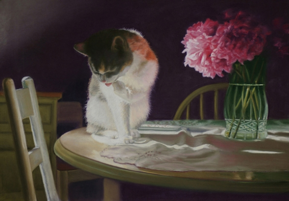 pastel painting of a cat on a table with peonies