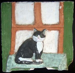 Ceramic tile with cat