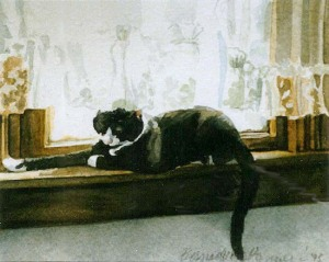 watercolor of cat on windowsill