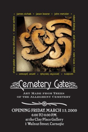 image of post card for cemetery gate art exhibit
