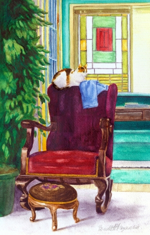 watercolor of cat on rocker