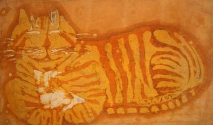 batik of orange kitty
