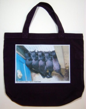 black tote bag with five cats