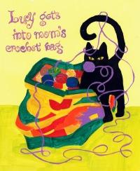 black cat with yarn