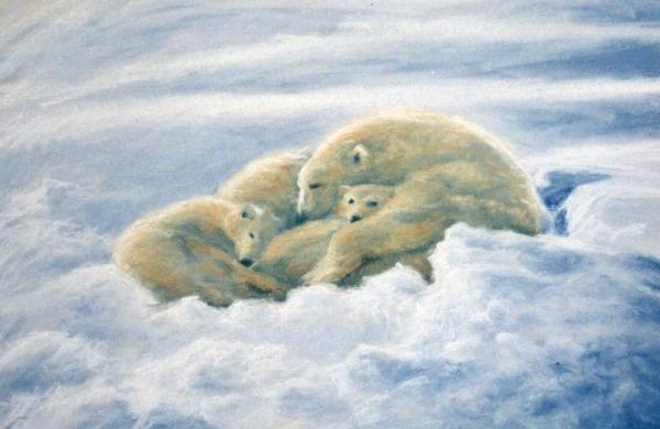 pastel painting of polar bear family asleep in snow
