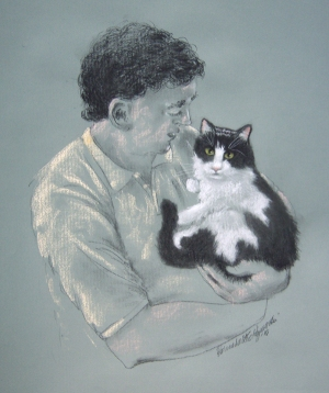 sketch of man holding black and white cat