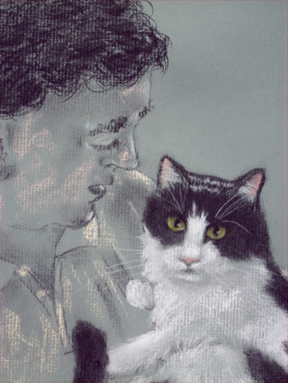 sketch of man looking at cat