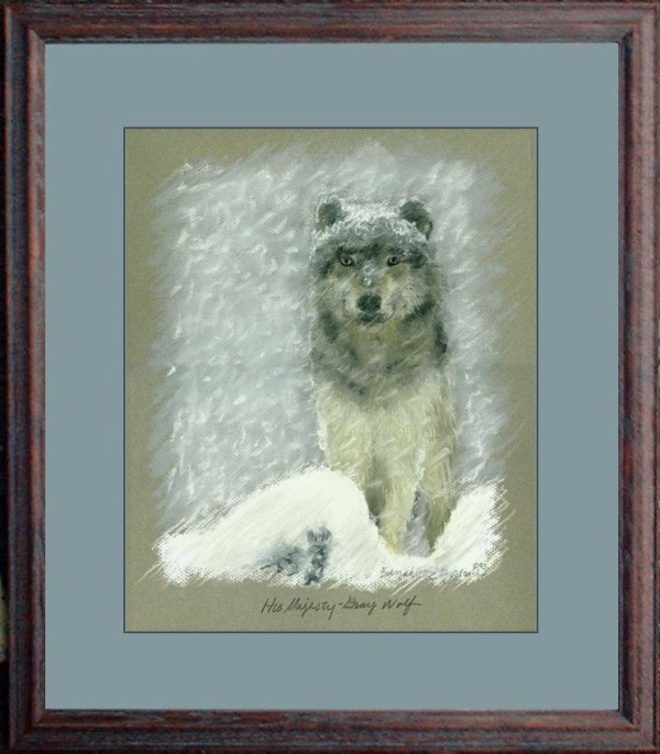 matted framed pastel painting of gray wolf