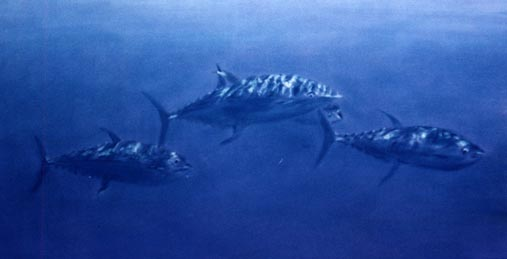 pastel painting of tuna underwater