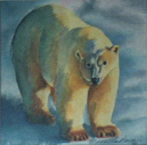 watercolor of polar bear in snow
