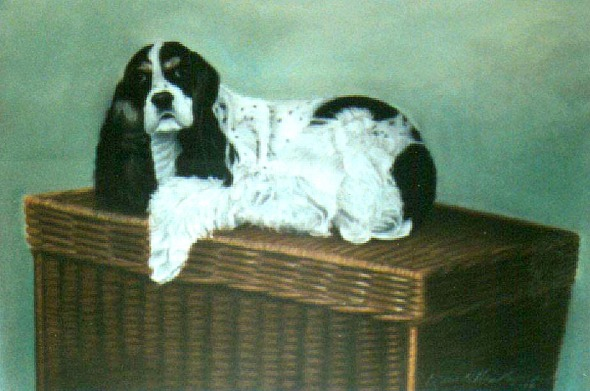 pastel portrait of dog on basket