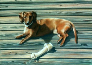 pastel painting of dachshund with toys